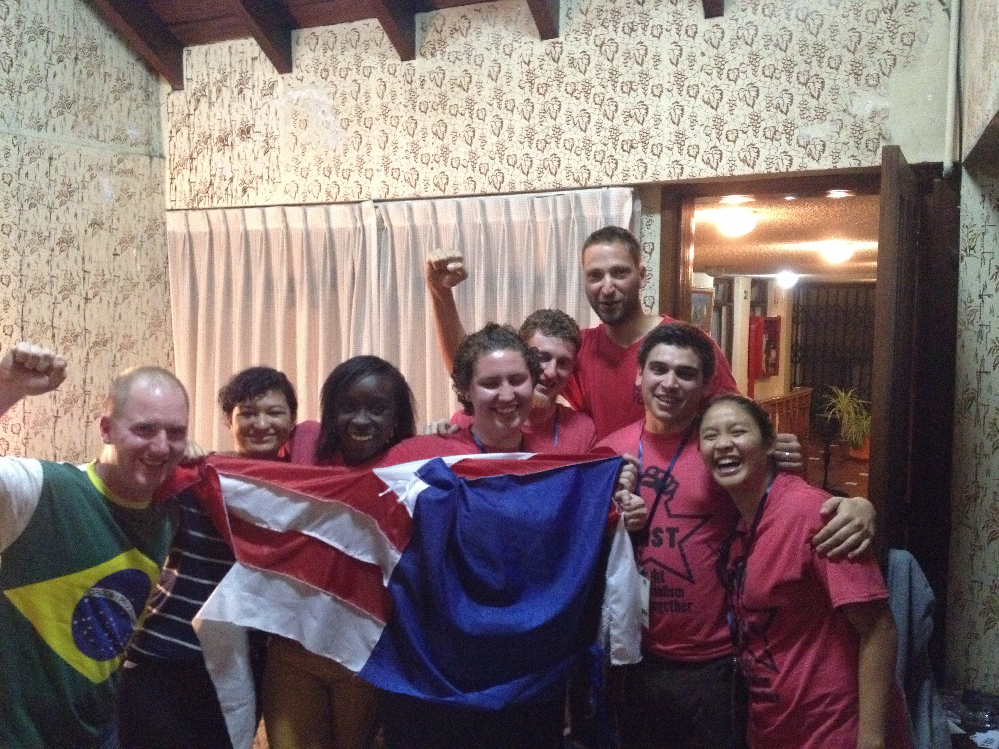 Red Youth and FIST with the remnants of the flag after the days events