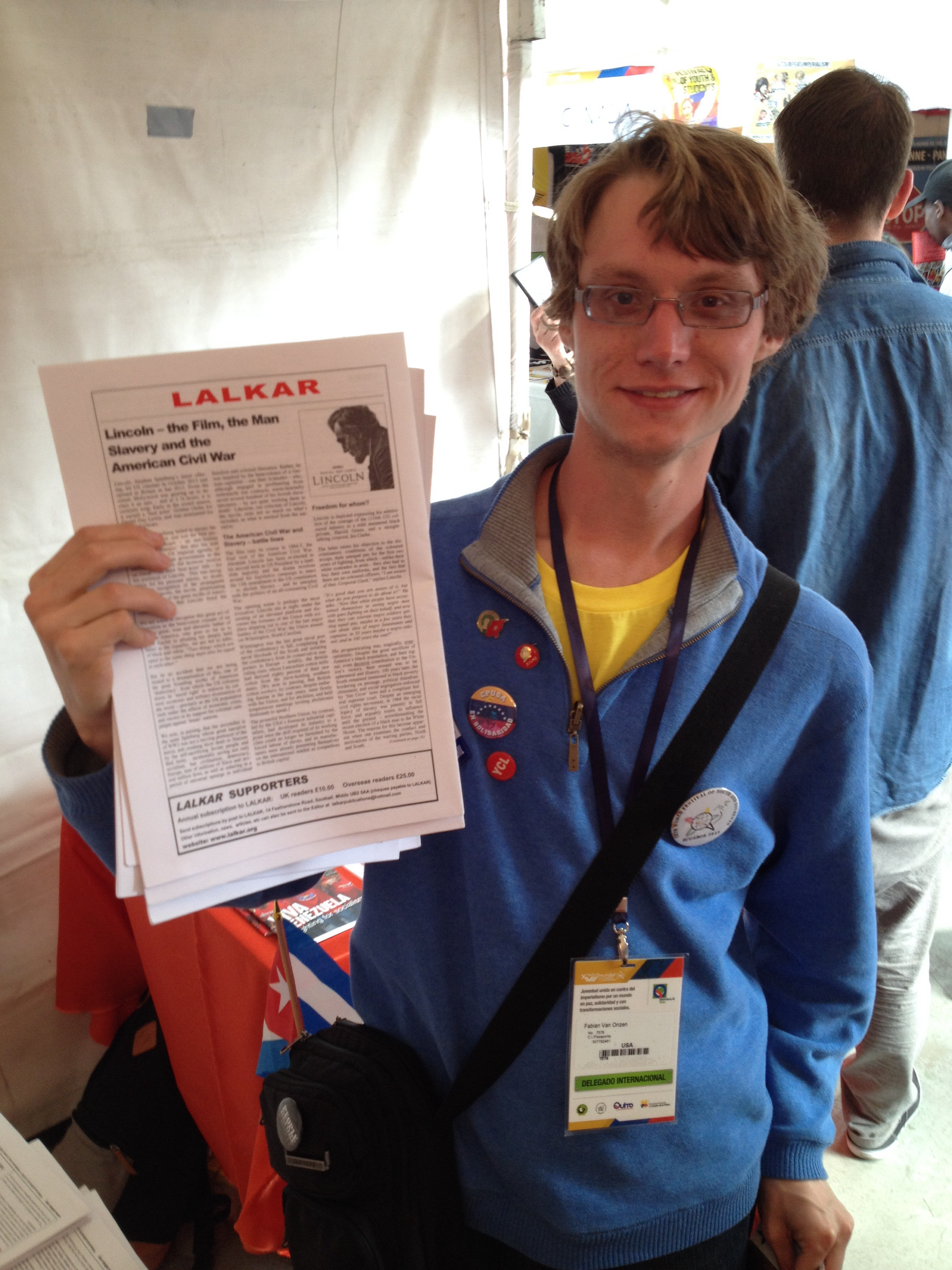 YCL comrade and Lalkar subscriber from the USA