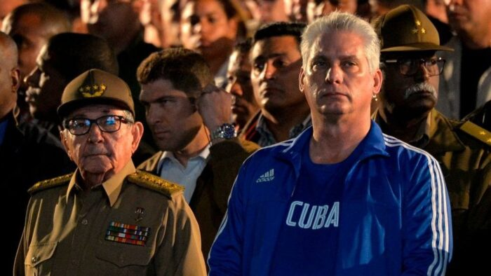 Former leader Raul Castro with Miguel Diaz-Canel, now First Secretary of the Communist Party of Cuba