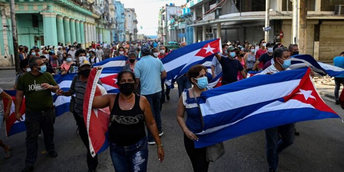 People take part in a demonstration to support the government of the Cuban President Miguel Diaz-Canel in Havana, on July 11, 2021. Yamil Lage/Getty Images